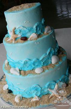 "Design W 0183 | Butter Cream Wedding Cake | 10""+8""+6"" | Serves 75 | Buttercream waves, Fondant Sea Shells, Sugar Sand | Custom Quote"