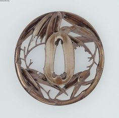 Tsuba with design of bamboo, made in Japan, mid-late 19th century