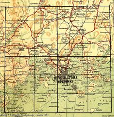 Helsinki. Topografikartta. Histdoc.net. Hamburgers, Helsinki, Ancestry, Finland, Vintage World Maps, Travel, Viajes, Burgers, Hamburger