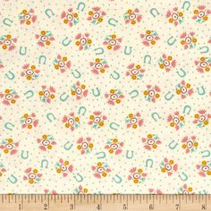 Moda Howdy Horseshoe Dreams Porcelain from @fabricdotcom  Designed by Stacy Iest Hsu for Moda, this cotton print fabric features horseshoes, polka dots and flowers and is perfect for quilting, apparel and home decor accents. Colors include cream, mustard, pink, dark pink and shades of blue.