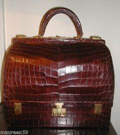 RARE Vintage Large Hermes Cognac Crocodile Malette Bag Fab Bag 4605c45e14866