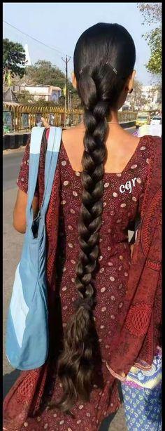 Really Long Hair, Super Long Hair, Beautiful Braids, Beautiful Long Hair, Slick Hairstyles, Braided Hairstyles, Braids For Long Hair, Braid Hair, Indian Long Hair Braid