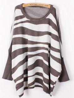 Khaki White Batwing Sleeve Zebra Patten Loose Sweater US$27.70