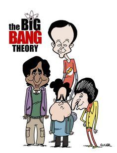 """Gran caricatura de """"the big bang theory"""" por @euler"""