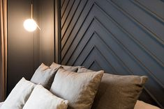 Although this apartment in the center of Barcelona was meant for renting, the designers of Miriam Barrio studio approached the reconstruction project with ✌Pufikhomes - source of home inspiration Master Bedroom Interior, Bedroom Decor, Bed Designs With Storage, Accent Wall Designs, Backyard Fireplace, Wall Molding, Beautiful Interiors, Home Interior Design, House Design