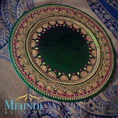 In love with these colours together!  - For orders: DM or email mehndibytasha@gmail.com ✨ - #mehndibytasha #hennaartist #mehndiartist #henna #mehndi #mehndithaal #thaal #hennaplate #decor #wedding #weddingthaal #mehnditaal #engagement #zukreat  #chargerplate #love #instagood #weddings #indiandecor #picoftheday #photooftheday #asian #instalike #weddingdecor #asiandecor #indian #indianwedding