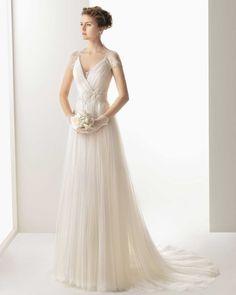 Wishesbridal V Neck Court Train #Tulle A Line #WeddingDress Aro0029