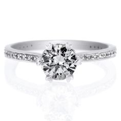 18K White Gold Beadset Solitaire Six-Prong Micropave Diamond Band Engagement Ring by Ritani