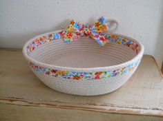 Cloth Wrapped Clothesline Coiled Basket by LinneaAndMeBoutique