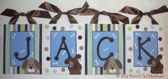Puppy canvas wall letter canvas name sign by Sweetartandparty