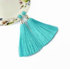 Turquoise Silk Tassel earrings fringe earrings Boho earrings