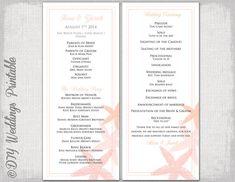 Beach Wedding Program Template C Starfish Destination Printable Order Of Ceremony Diy