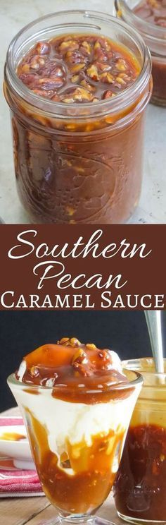 This recipe for homemade caramel sauce only takes a few ingredients and minutes to make. Rich, thick and creamy with toasted pecans, it's the perfect ice cream topper! Bourbon Caramel Sauce, Caramel Pecan, Recipe For Caramel Sauce, Caramel Sauce Easy, Carmel Pecan Pie, Homemade Carmel Sauce, Homemade Pecan Pie, Pecan Praline Cake, Homemade Ice Cream