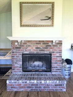 How to Whitewash a Brick Fireplace — This Hiatus How to W., How to Whitewash a Brick Fireplace — This Hiatus How to W. White Wash Brick Fireplace, Painted Brick Fireplaces, Paint Fireplace, Fireplace Shelves, Brick Fireplace Makeover, Shiplap Fireplace, Victorian Fireplace, Rustic Fireplaces, Fireplace Hearth