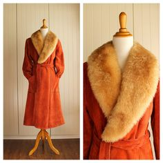 Vintage 70s Wrap Coat Rust Orange Suede// BOHO by TheRubyOlive, $150.00
