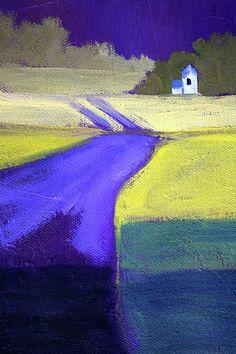 Purple Road Abstract Landscape Painting by Nancy Merkle