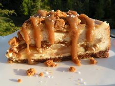 salted caramel apple cheesecake w/ biscoff crust.