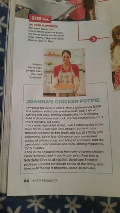 Joanna Gaines chicken pot pie Cooked Chicken Recipes, How To Cook Chicken, Meat Recipes, Cooking Recipes, Chicken Meals, Magnolia Table, Magnolia Kitchen, Magnolia Farms, Crock Pot Freezer
