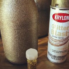 Champagne glitter bottles  spray...with glitter spray paint. place in a box to contain the over spray!!