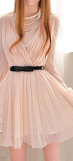 Adorable Nude long sleeved pleated chiffon dress and Pearls!