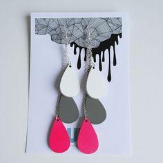 Pisara-korvakorut, valkoinen-harmaa-neonpinkki By Uhana Design
