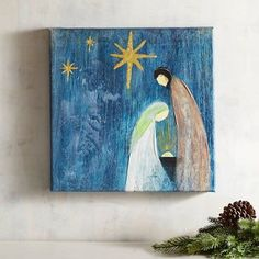 In the still of their miraculous night, with heavenly stars shining above, Mary and Joseph have a peaceful, private moment of bonding with the newborn Son. Nativity Crafts, Christmas Nativity, Christmas Art, Christmas Projects, Christmas Decorations, Christmas Ornaments, Christmas Canvas, Simple Christmas, Nativity Painting