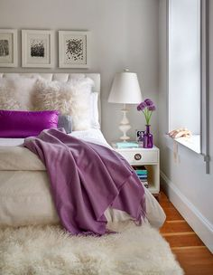Luv the fluff and pop of purple bedroom color schemes, bedroom colors, cozy bedroom Bedroom Color Schemes, Bedroom Colors, Colour Schemes, Color Palettes, Cozy Bedroom, Dream Bedroom, Bedroom Ideas, Master Bedroom, Feminine Bedroom