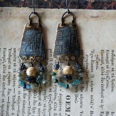 blue brass dangle earrings by infinitystop on Etsy, €30.00