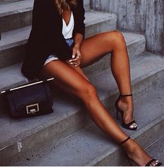Tan, legs, shoes, outfit.....I want it ALL!