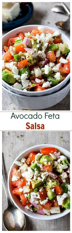 Avocado Feta Salsa | www.diethood.com | Avocados, tomatoes, and feta cheese combined to make a chunky, savory, delicious Salsa dip!