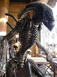 Xenomorph sculpture made from terminator parts