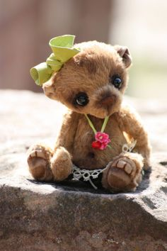 "OOAK - Artist Baby Teddy Bear ""Babsi"" by BiliBinoBears - handmade by Yanina Link"