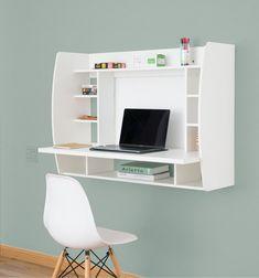 Desk Hutch, Desk Shelves, Desk Storage, Wall Mounted Desk, Wall Desk, White Writing Desk, Ladder Desk, Desk In Living Room, Solid Wood Desk