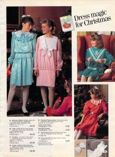 Had that blue dress on the far left. Vintage Outfits, Vintage Fashion, 80s And 90s Fashion, Girl Fashion, 1980s Childhood, 1980s Dresses, 20th Century Fashion, Vintage Mode, Little Girl Dresses