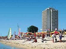 Hotel Burgas close to the beach in Sunny beach resort on the Black sea in Bulgaria Beach Hotels, Beach Resorts, Sunny Beach, Black Sea, Bulgaria, San Francisco Skyline, Sunnies, Coast, Street View