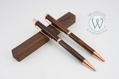 Copper Slimline pen and pencil set with Cocobolo wood by WalltownCraftworks on Etsy