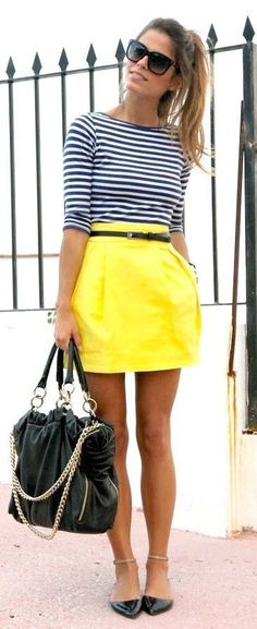 #street #style summer stripes + yellow dress @wachabuy