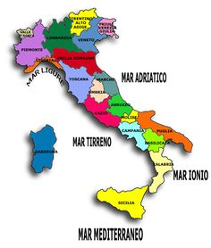Italy by @ Best Of Italy, Italy Map, Italian Words, Regions Of Italy, Vintage School, Italian Language, Learning Italian, Teaching Materials, Earth Science