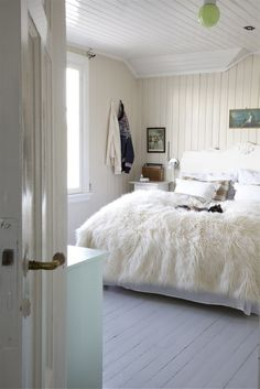 sheepskin is the perfect throw rug, why not add one for the floor too?