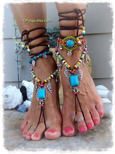 Turquoise Boho BAREFOOT Sandals FESTIVAL sandal Native Cowgirl