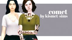 "kismet-sims: "" • tucked in • works with high waisted bottoms • cute yet sensual • base game compatible • 12 solid swatches DOWNLOAD COMET TOP """