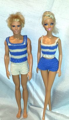 Crochet Barbie & Ken Shorts and Tank Tops, Crochet Barbie Doll Clothes, Fashion Doll Crocheted Clothing by GrandmasGalleria on Etsy
