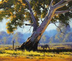 Shady Tree by Graham Gercken Watercolor Trees, Watercolor Landscape, Landscape Art, Landscape Paintings, Painting Trees, Australian Painting, Australian Artists, Shady Tree, Traditional Landscape