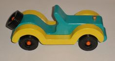 Kids Wooden Blue-Green and Yellow Coupe by KentsKrafts on Etsy