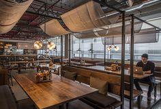 DROPBOX CAFETERIA | AvroKo | A Design and Concept Firm Retail Interior Design, Restaurant Interior Design, Cafe Interior, Bakery Design, Cafe Design, Kitchen Design, Rooftop Restaurant, Bridge Restaurant, Food Court Design