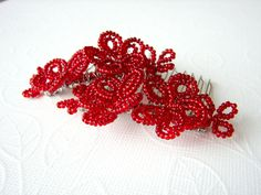 Festive Red French Beaded Flower Hair Combs. $21.95, via Etsy.