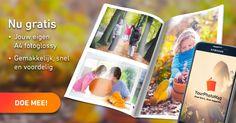 Ontvang een van de 500 gratis fotomagazines in ruil voor het testen van onze app. YourPhotoMag: Het voordelige en gemakkelijke alternatief voor de traditionele fotoboeken!