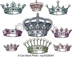 Vector - old crown set - stock illustration, royalty free illustrations, stock clip art icon, stock clipart icons, logo, line art, EPS picture, pictures, graphic, graphics, drawing, drawings, vector image, artwork, EPS vector art