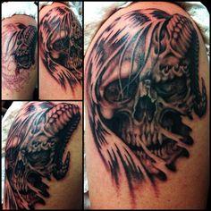 Tattoo by Jojo Miller, Dynamic Ink, Eternal Ink, skull, demon, angel, ram horn, angel half, shoulder tattoo, tattoos, tattoo ideas, tattoo for guys