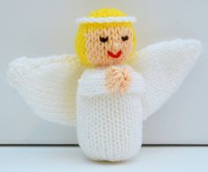Doll Knitting Pattern Christmas Angel on Craftsuprint - View Now! Bamboo Knitting Needles, Knitting Wool, Double Knitting, Christmas Knitting Patterns, Knitting Patterns Free, Free Pattern, Christmas Angels, Christmas Crafts, Xmas